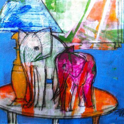Richard Schwarz - Gemälde Elefanten