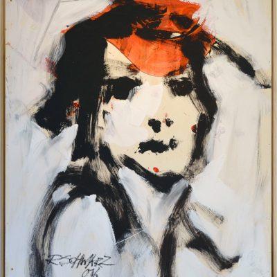 Richard Schwarz - Gemälde Frau Mit Rot