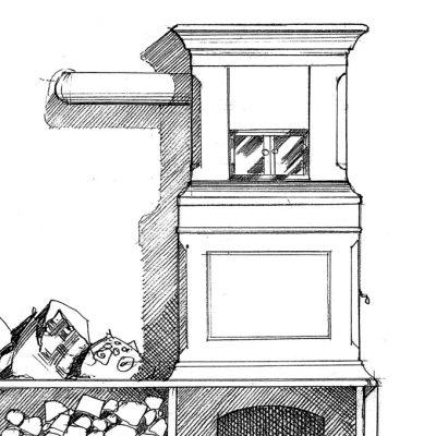Ofenbau Scharz Ofen-Entwurf-Zeichnung