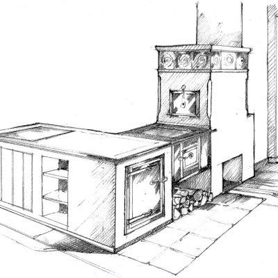Ofenbau Scharz Ofen-Entwurf-Zeichnung 300