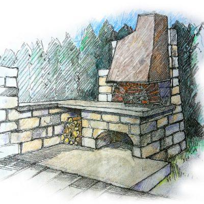 Ofenbau Schwarz Kamin-Entwurf-Zeichnung