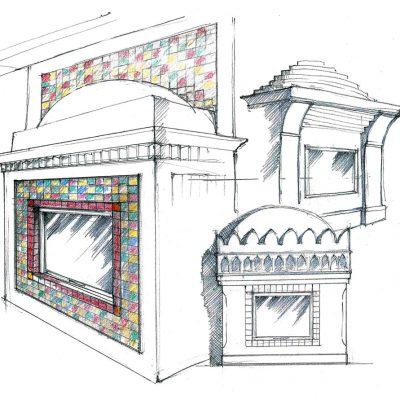 Ofenbau Schwarz Ofen-Entwurf-Zeichnung Boch-1