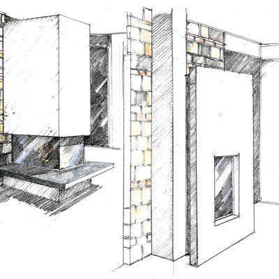 Ofenbau Schwarz Ofen-Entwurf-Zeichnung