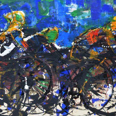 Richard Schwarz - Gemälde Radfahrer
