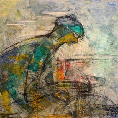 Richard Schwarz - Gemälde Rennradfahrer